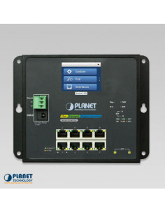 WGS-5225-8T2SV PLANET Industrial Managed 8-Port 1000TX & 2-Port SFP Wall Mount Switch with LCD Touch Screen