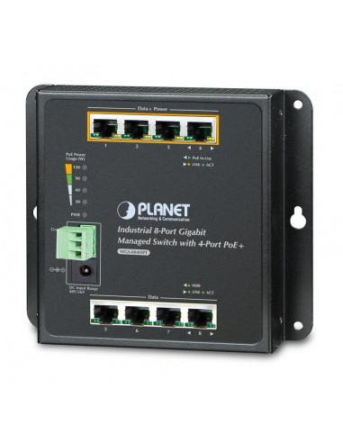 WGS-804HPT Industrial 8-Port 10/100/1000T Wall-mount Managed Switch with 4-Port PoE+ (-40~75 degrees C)