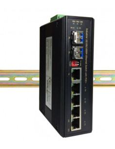 H8042CF-12 Ruggedized Industrial 5 port Gigabit POE switch with 2xSFP -40 to 75 degrees